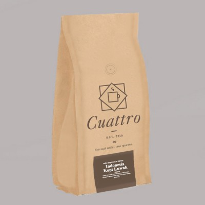 Кофе CUATTRO Indonesia Kopi Luwak (упаковка 500 г)
